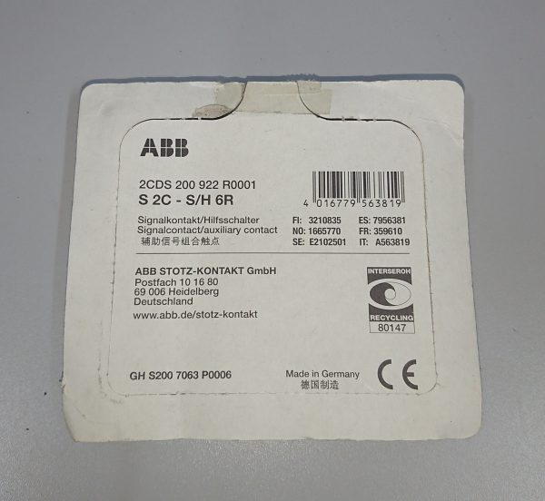 ABB – S2C-S/H6R – Signal / Auxiliary Contact